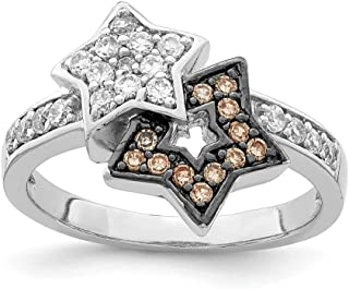 925 Sterling Silver Clear Champagne Cubic Zirconia Cz Stars Band Ring Sun/moon/star Fine Jewelry For Women Gift Set
