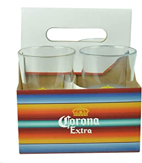 Corona Extra Acrylic Pint Glass and Carrier Set - Set of 4 Glasses