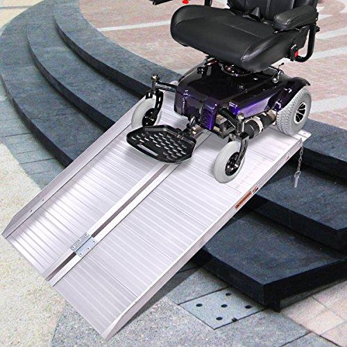 3' Aluminum Fold Portable Wheelchair Ramp Mobility Handicap Suitcase Threshold