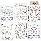 Howaf Einhorn 3D nagelsticker selbstklebend (500+ Design), Einhorn Nagelaufkleber Nail Art Sticker Nagel Abziehbilder für Mädchen Mitgebsel Kindergeburtstag geschenktüten DIY Nagel Kunst Dekoration