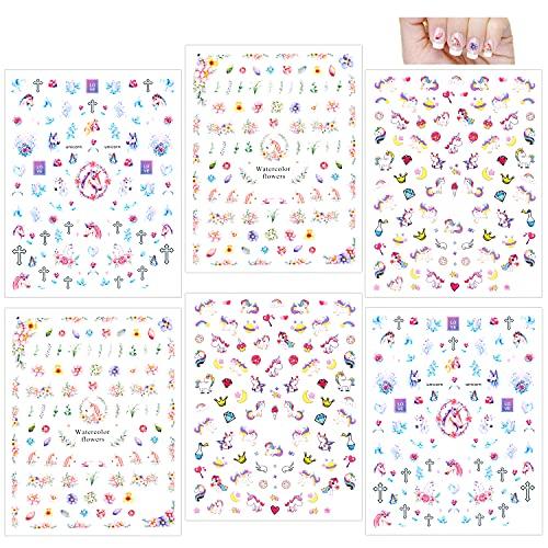 Howaf Unicorno 3D Unghie Adesivi Nail Art Decalcomanie (500+ disegni), Nail Adesivi Nail Manicure Decalcomanie per Nail Decorazione Bambine Ragazze Regalo Festa...