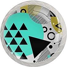 Ladeknoppen Ronde Kristal Glazen Kabinet Handvatten Trek 4 Pcs,Driehoek en Cirkel