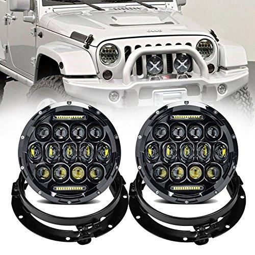 Phares LED ronds de 17,8 cm, 75 W, feux de circulation diurnes, feux de stationnement, feux de croisement avec DRL blanc + anneaux de fixation de 17,8 cm pour voiture (4 pièces, noir)