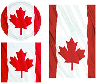 Waving Canadian Flag Patriotic Party Supplies Napkins and Table Cover for up to 12 Guests TLP Party Dessert Plates Bundle Includes