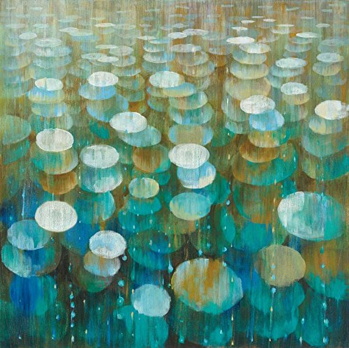 Feeling at home Kunstdruck-auf-Papier-cm_73_X_73-Nai-Danhui-Abstrakt-Bild-Poster-blauen-Kreis-Kreise-bunt-vergoldet-Gold-grün-Ovalen-Regen-rainfloraldrops-Regentropfen-ref