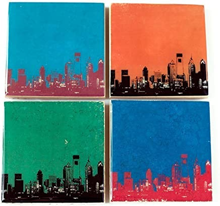 Custom Text /& Colors Personalized Cityscape Stone Coasters City Skyline Coaster Set with Letter