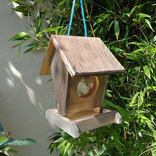 Vogelfutterstation-BEL-X-VOFU1K-at002 PREMIUM Vogelhaus Vogelfutterhaus schwarz anthrazit Schwarzlasur dunkelgrau Holz, als Ergänzung zum Meisen Nistkasten Meisenkasten oder zum Insektenhotel, Futterstelle Futterstation für Vögel, Vogelhäuschen / Vogelvilla zum Hängen und Aufstellen von BEL - 2
