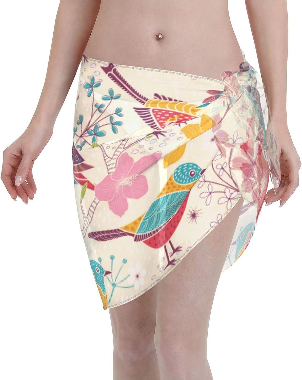 Reindeer Horn Women Short Elegangt Birds and Floral Blossom Sarongs Cover Ups Beach Chiffon Sarong Bikini Swimwear Black