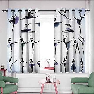 Waynekeysl Bathroom Grommet Window Curtain Art Female Ballet Dancers Performing Arts Black Silhouettes Illustration Design W55 Xl63 Purple Lavender White