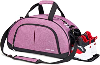 Sports Gym Bag with Wet Pocket for Men and Women Travel Duffel Bag with Shoes Compartment (Purple)