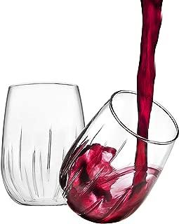 Godinger Aerating Wine Glasses Stemless Goblets Wine Aerator, Made in Italy - 16oz, SET OF 8