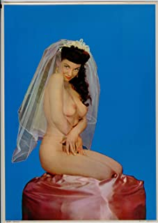 Vintage 1950s Nude Photo Litho Pin-Up Poster Bridal Veiled Brunette Beauty