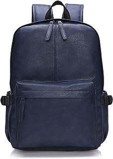 OB OURBAG Unisex Rucksack, PU Leder Rucksäcke Herren Damen Elegant Schulrucksäcke für Manner Teenager Schultasche Büchertasche Schultertasche für Reise Einkaufen Wandern Blau