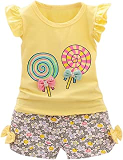 Fabal 2Pc Baby Girl Clothes Summer Tee +Short Pants Kids Girls Casual Outfits Lolly