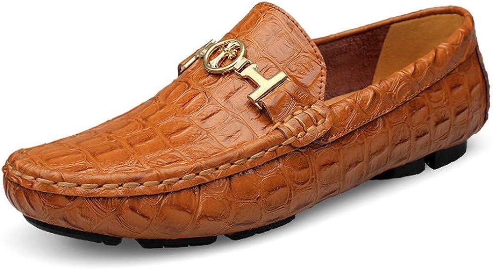 Asifn scarpe mocassini da uomo in morbida pelle marrone