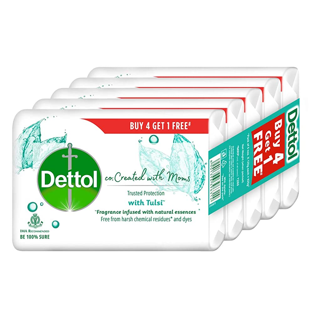 糞皮肉な行政Dettol Co-created with moms Tulsi Bathing Soap, 125gm (Buy 4 Get 1 Free)