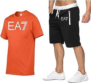 ONLYGO Men's Casual Tracksuit Short Sleeve Cotton Pyjamas Set Summer Loungewear Sleepwear Top & Bottoms Shorts Outfits