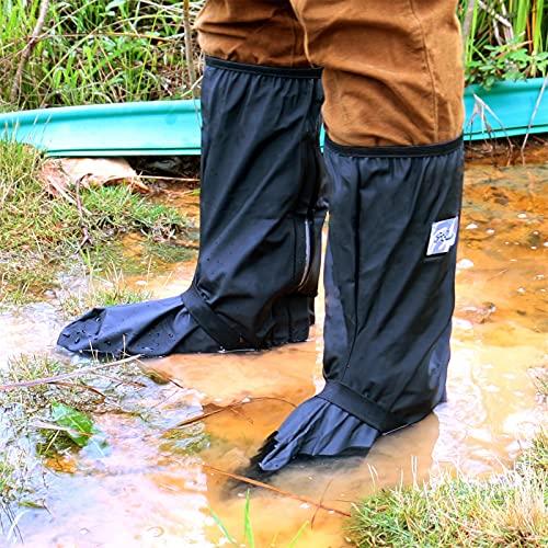 Whose Lemon Waterproof High Boots Galoshes Rain Shoe Covers L Black (11.8inch)