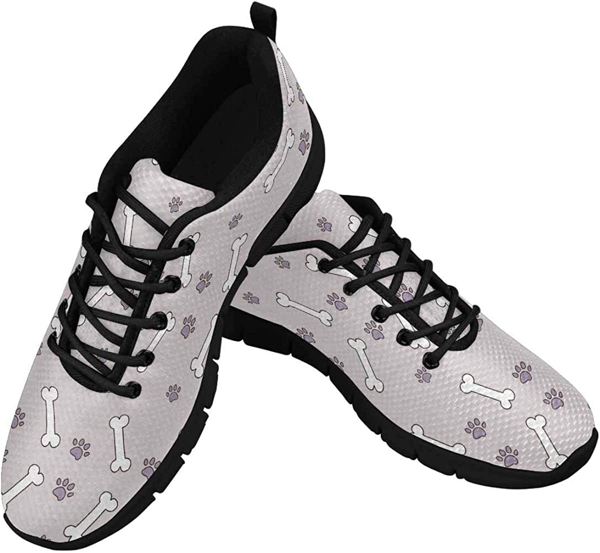INTERESTPRINT White Bones, Lilac Traces of Animals Women's Walking Shoes Lightweight Casual Running Sneakers