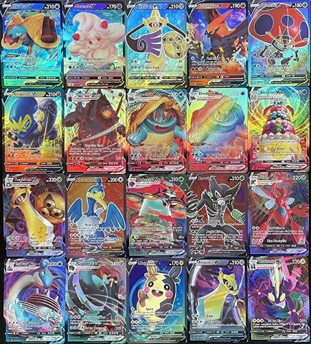 Meayul Pokemon Carte, 100 Pezzi Pokémon Cards, 50 VMAX + 50V Carta Collezionabile Pokemon Toy Card, Regalo Perfetto per Ragazzi e Ragazze Carta Rara di Pokemon Carte (50Vmax + 50V)