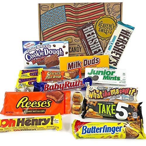 Amerikanische Schokolade Geschenkkorb | Auswahl beinhaltet Reeses, Hershey, Butterfinger, Baby Ruth | 17 Produkte in einer tollen retro Geschenkebox | American Candy