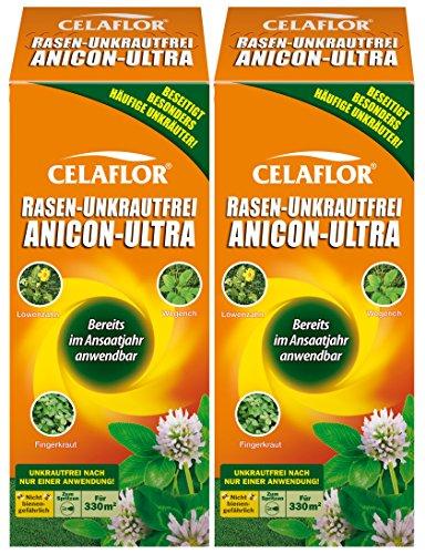 Celaflor Rasen-Unkrautfrei Anicon Ultra, Spezial-Unkrautvernichter zur Bekämpfung von Unkräutern im Rasen, Sehr Gute Rasenverträglichkeit, Konzentrat, 2 x 500 ml Flasche