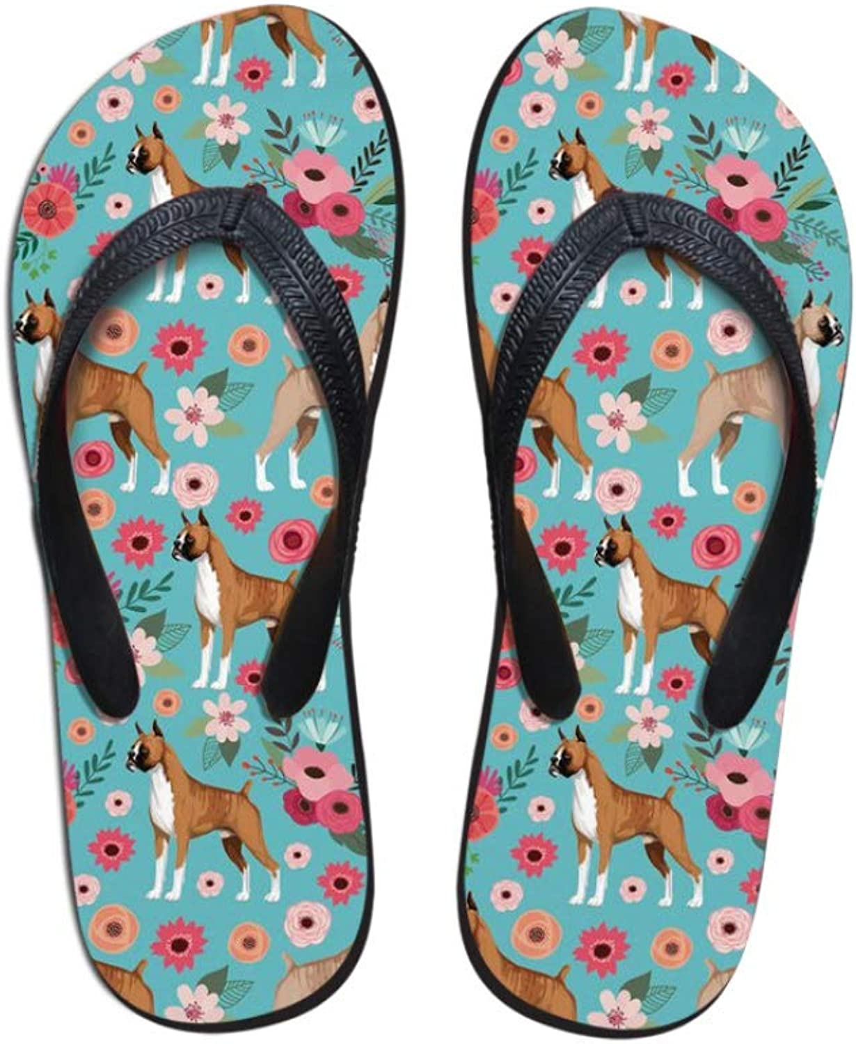 T-JULY Flip Flops for Woman Fashion Puppies Boxer Floral Print Women Flats Beach Slippers Summer Flip Flops for Lady Girls