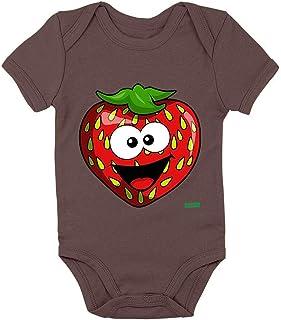 HARIZ Body de manga corta para bebé con diseño de fresas sonrientes y frutas de verano, incluye tarjeta de regalo