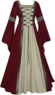 Womens Vintage Dresses Celtic Long Sleeve Medieval Maxi Dresses Renaissance Gothic Cosplay Dress