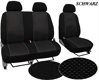 Maßgefertigter Sitzbezug, Modellspezifischer Sitzbezug Fahrersitz + 2er Beifahrersitzbank Für Ford Transit Custom. Super Qualität, STOFFART VIP. In diesem Angebot SCHWARZ (Muster im Foto).