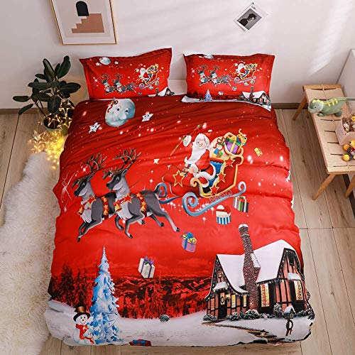 Youareking Merry Christmas 3 Pieces Duvet Covers Set with 2 Shams, Santa Claus Pattern Bedding Cover Set,Full