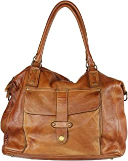 BZNA Bag Viola cognac brown Italy Designer Damen Handtasche Ledertasche Schultertasche Tasche Leder Shopper Neu