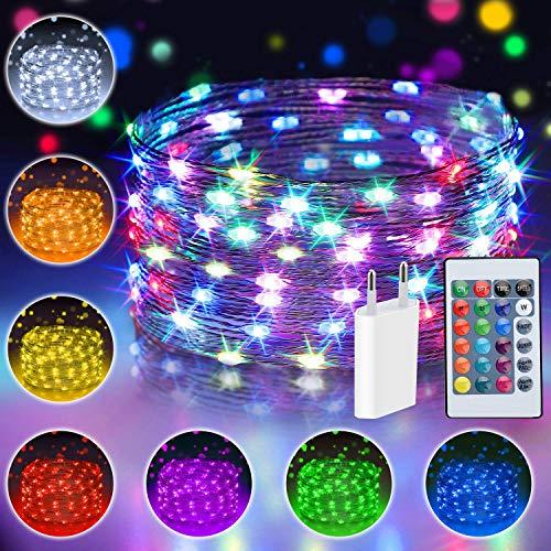 10M 100 LED Bunt Lichterkette Innen, 16 Farben USB Kupferdraht Lichterkette für Zimmer mit Fernbedienung & 4 Modi, Fairy Lights with EU Stecker, Weihnachtsbeleuchtung für Kinderzimmer, Halloween Deko