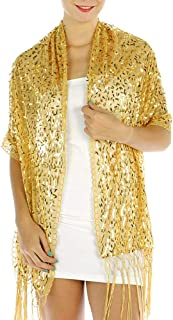 Evening Shawls And Wraps for Dresses, Lightweight Metallic Fishnet Scarf