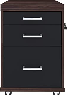 Artany Executive Drawer with Casters, Louro/Black, H 70 x W 46.5 x D 49 cm