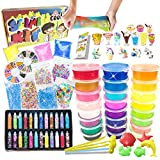 essenson DIY Slime Kit - Schleim Kit with 24 Colors Crystal Clear Slime, Slime Charms, Schleim Set für Kunsthandwerk für Kinder 6-12 Jahren mädchen