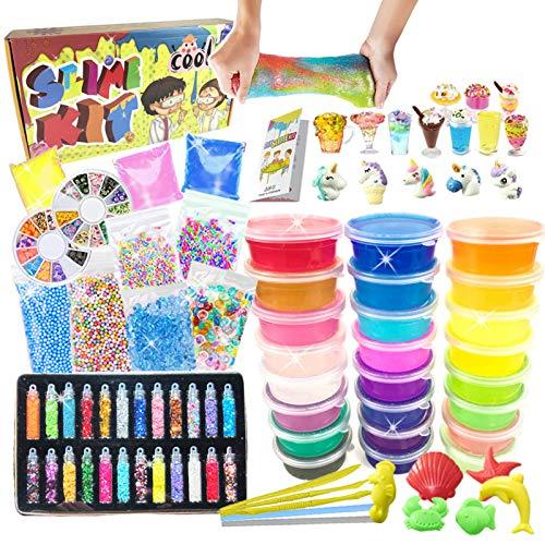 essenson Kit de slime DIY – Kit de slime con 24 colores de cristal transparente Slime, dijes Slime Charms, juego para manualidades para niños de 6 a 12 años