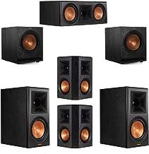 Klipsch 5.2 System with 2 RP-600M Bookshelf Speakers, 1 Klipsch RP-600C Center Speaker, 2 Klipsch RP-502S Surround Speakers, 2 Klipsch SPL-100 Subwoofers