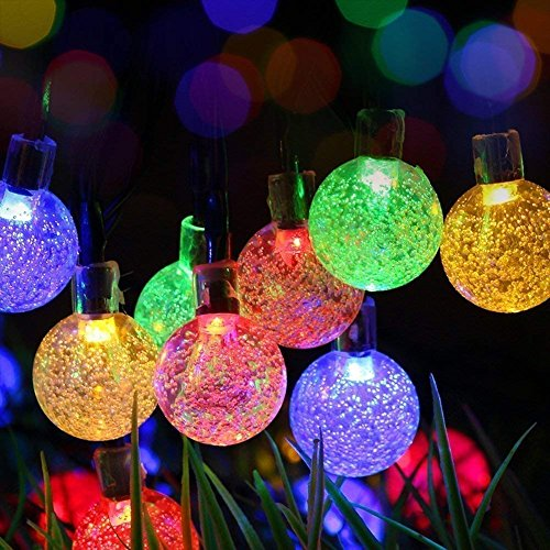 DINOWIN Solar String Lights, Waterproof 20ft 30 LED Solar Crystal Ball String Lights, Indoor Outdoor Fairy Globe String Lights,for Garden,Patio,Christmas,Wedding,Home, Party Decoration (Multicolor)