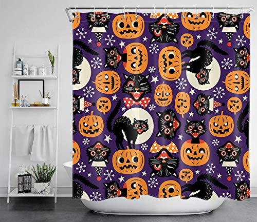 TQQQF Moon time Black cat Orange Ghost Jack Lantern Purple Shower Curtain Interesting Bathroom Shower Curtain Waterproof Bathroom Decoration 72x72inch Easy to Clean 7 Contains 12 Plastic Hooks