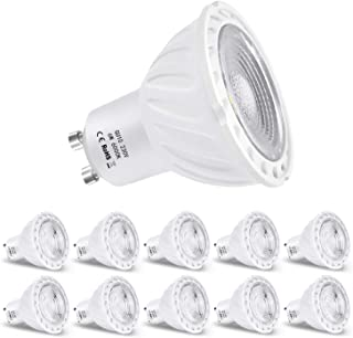 Zikey 6W GU10 Bombilla LED, Luz Blanca Fría 6000K, Equivalente a 60W Lámparas Halógenas, 600lm, No regulable - Paquete de 10