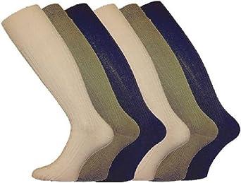 6 Pairs Mens Long Hose Ribbed 100% Cotton Comfy Grip Socks
