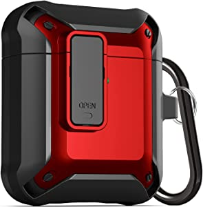 Upgraded Armor [Secure Lock] Airpod Case, Fibuntun Shockproof AirPods Cover Cool iPod Case Designed for Apple Air Pod 2&1 Wireless Cases for Men Women - Black/Red
