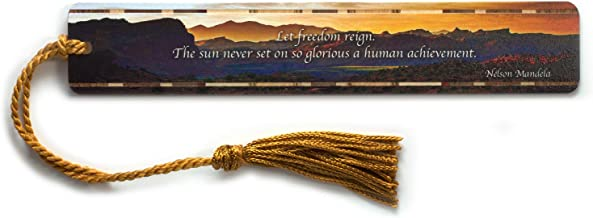 Personalized Nelson Mandela Let Freedom Reign Bookmark with Tassel- Made in the USA - Search B01MXE280N to see non personalized version.