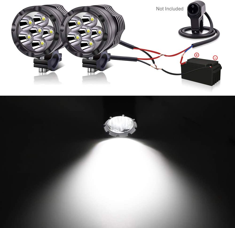 10W Amber Motorcycle LED Driving Auxiliary Lights 12V 24V Headlights LED Work Light for Car Truck Off Road 4X4 ATV Tractor YnGia 2PCS Motorcycle Fog Spotlights