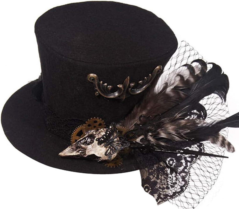 JAYLONG Steampunk-Kostüm, Vintage-Top, Hut, Schleier, Federn & Zahnrder, viktorianischer Gothic-Stil, Zubehr für Cosplay, Halloween, Maskerade