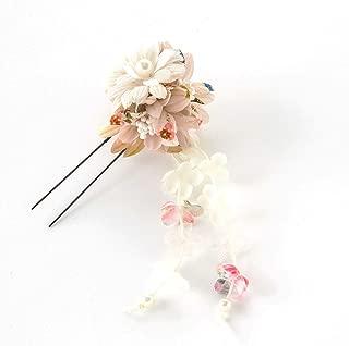 [ミッシュキッシュ]髪飾り ヘアアクセサリー コサージュ 和風花びら下がり付きUピン 4517-423