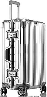 【3年間保証付き】アルミニウムマグネシウム合金製スーツケース機内持ち込みスーツケーストラベルバッグキャリーバッグ静音キャスター自在車 (S, (1801モデル) シルバー)