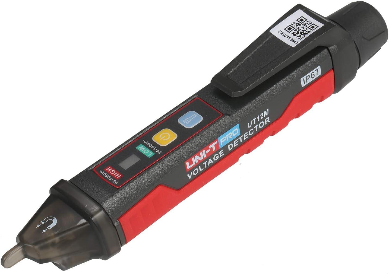 Detector de voltaje de CA 24 V-1000 V KKmoon Probador port/átil sin contacto Enchufe de l/ápiz L/ápiz de prueba el/éctrico de corriente de voltaje con alarma de luz y sonido y vibraci/ón de linterna LED