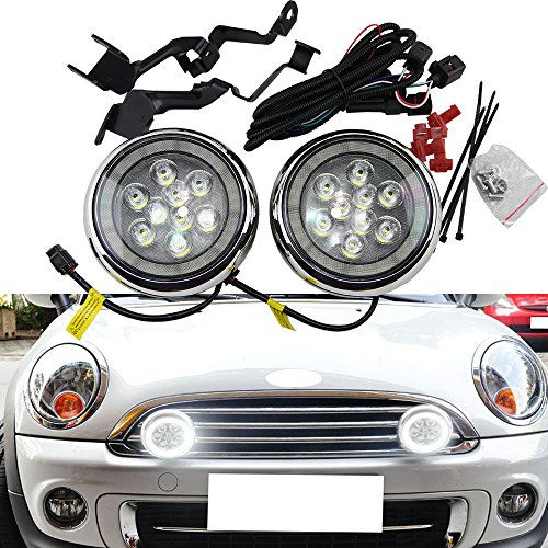 NSLUMO 2x LED Halo Rally DRL Daytime Driving Light for MINI R55 Clubman R56 F56 R57 Convertible R58 Coupe R60 Countryman R61 with E4 Certificated (Chrome Shell)